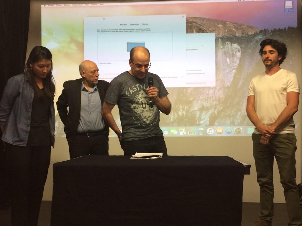 Une étudiante de la HEAR, Eric Catarina (fondateur des éditions du Long Bec), Roger Seiter (scénariste BD),  Thomas Pineau (Audio Picture)